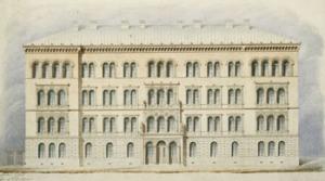 Piirros kemian laboratorioksi ja museorakennukseksi, fasadi Niko