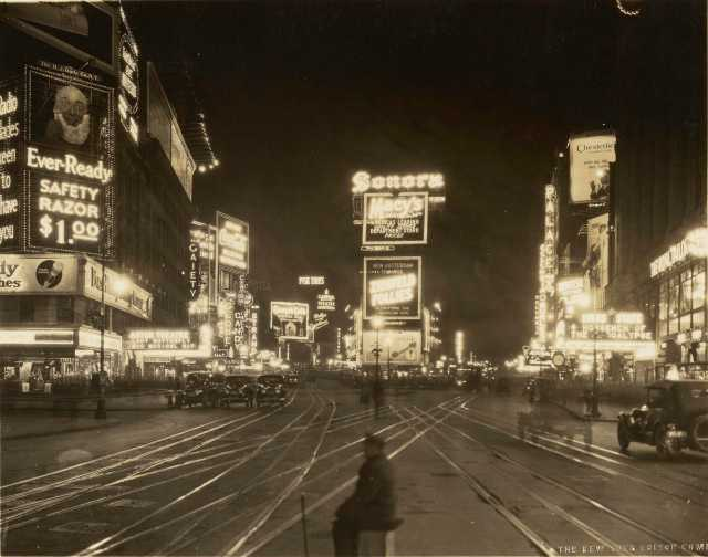 A Night View of Broadway looking North from 45th Street; New York Edison Co. Photographic Bureau (American, active 1901 – 1936); New York, New York, United States; 1923; Gelatin silver print; 17.8 × 22.8 cm (7 × 9 in.); 84.XM.239.68